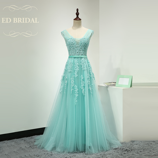 A Line Beaded Lace Appliques Mint Green Tulle Long Prom Dress Custom ...