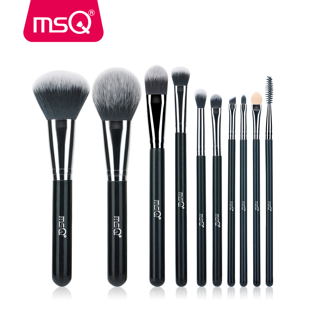 MSQ 10pcs High Quality Professional Makeup Brushes Set Brilliant Black Handle for Classic Makeup Tools Kit 10pcs professional makeup brushes set high quality makeup tools kit premium full function