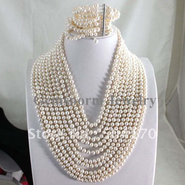 Buy Fabulous White Pearl Set 10Rows Pearl