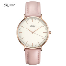 New Brand Watch SKStar Watches Men Golden Genuine Leather Quartz Movement Water Resistant Men Women Watch