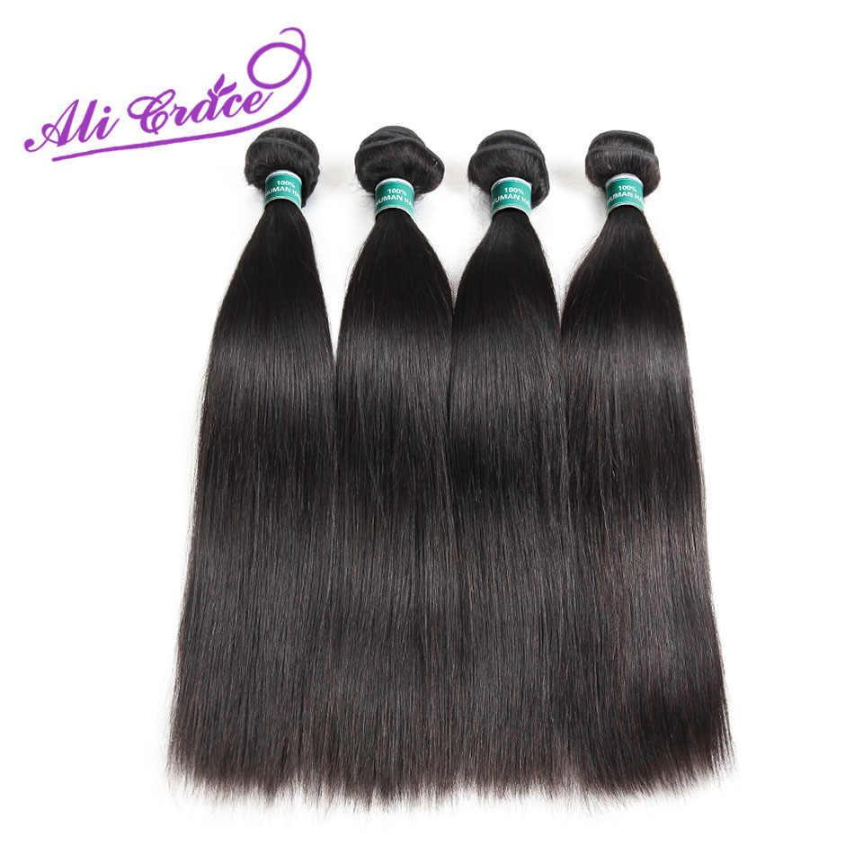 Ali Grace Haar Peruaanse Steil Haar 4 Bundels 100% Remy Human Hair Extension Natuurlijke Kleur 10-28 Inch Gratis verzending
