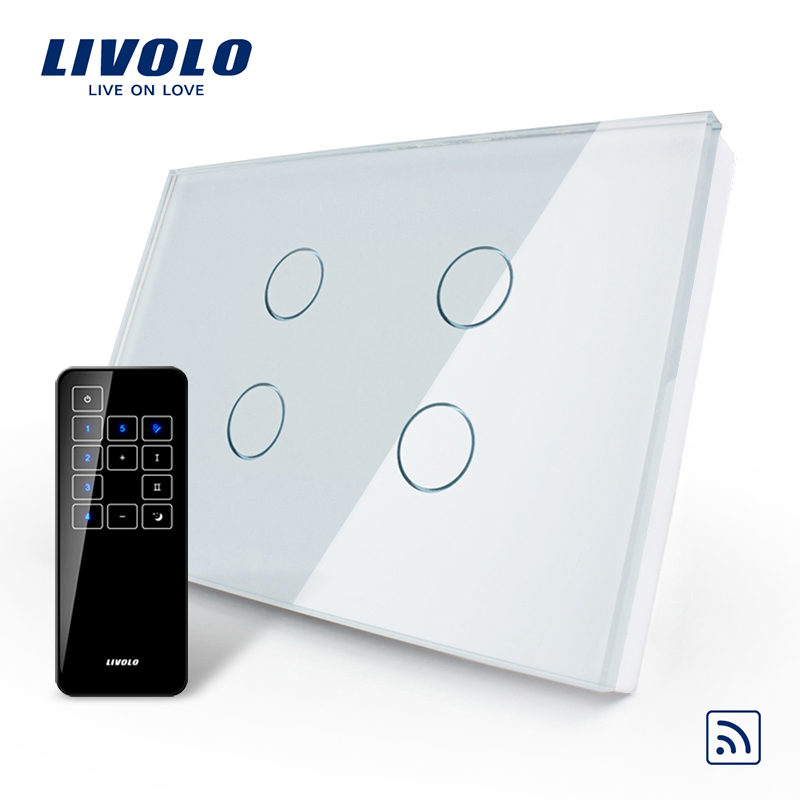Livolo US AU Standard Touch Switch VL C304R 81 RMT 03 Crystal Waterproof Glass Touch Screen