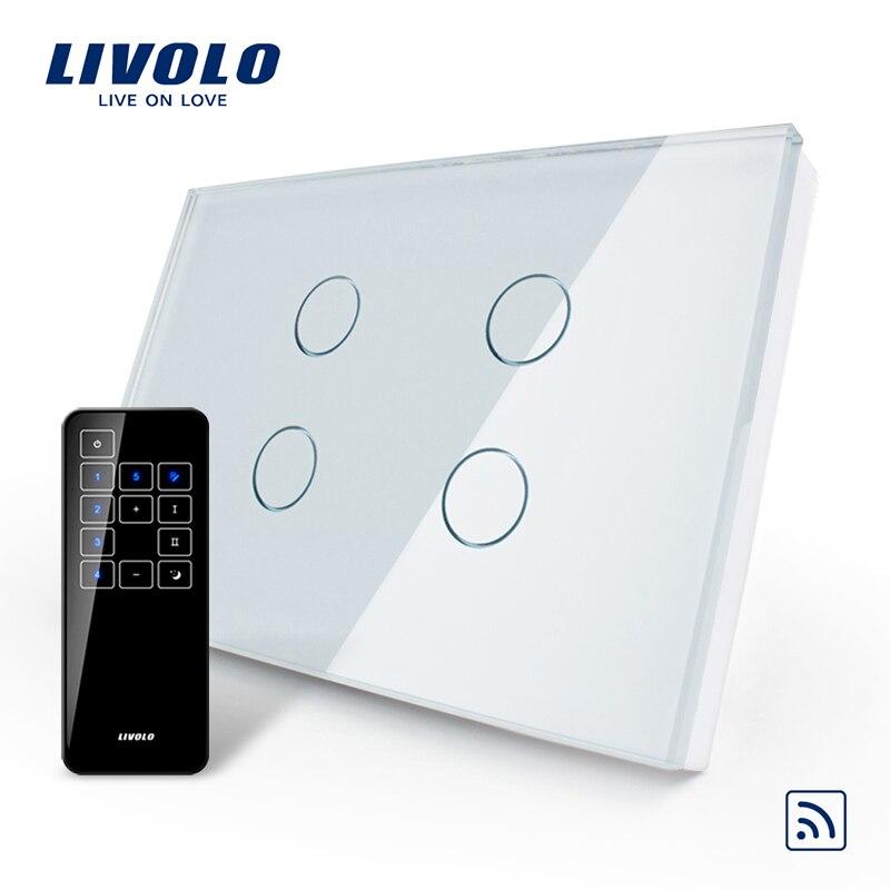 Livolo США/AU стандартный, сенсорный выключатель, VL-C304R-81 и RMT-03, кристалл водостойкое стекло сенсорный экран выключатель света