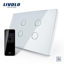 Livolo 米国/Au 規格、タッチスイッチ、 VL C304R 81 & RMT 03 、クリスタル防水ガラスタッチスクリーンライトスイッチ & タッチリモート