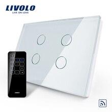 Livolo US/AU Standard, przełącznik dotykowy, VL C304R 81 i RMT 03, kryształowy wodoodporny szklany ekran dotykowy włącznik światła i dotykowy pilot