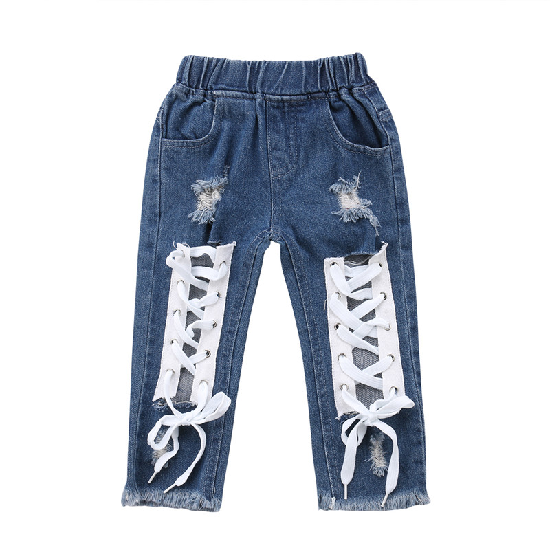 Denim Pants Clothing Hole-Jeans Ripped Toddler Baby-Boy-Girls Kids Fashion Children Stylish title=