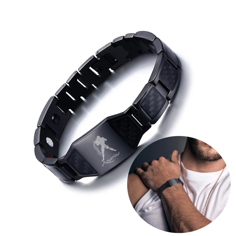 Customize Men's Black Stainless Steel Carbon Fiber and Bio Magnetic Therapy Bracelet with Engraving 12 Constellations Men Jewels mini globe stars and constellations