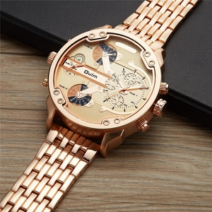 Image 3 - Oulm Exaggerated Large Big Watches Men Luxury Brand Unique Designer Quartz Watch Male Heavy Full Steel Leather Strap Wrist Watch