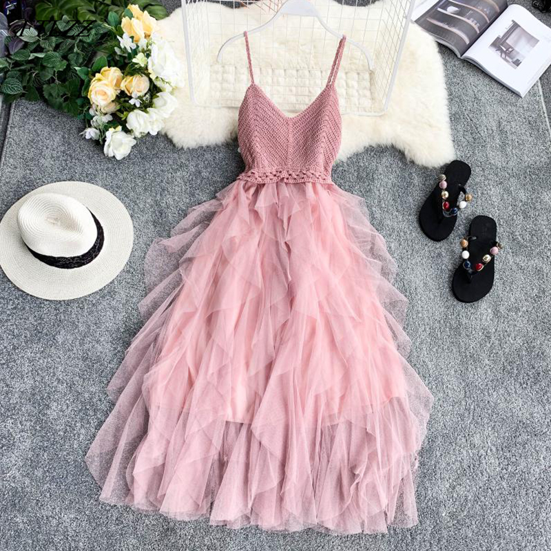 FTLZZ New Women Tulle Dress Summer High Waist Mesh Dress Hem Asymmetrical Pleated Dress Female Slim Fairy Dresses