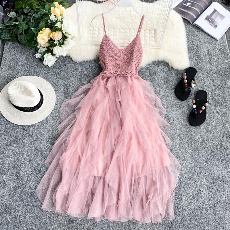 FTLZZ New Women Tulle Dress Summer High Waist Mesh Dress Hem Asymmetrical Pleated Dress Female Slim Fairy DressesDresses   -