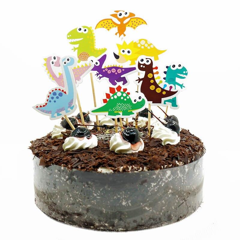 9pcs Dinosaur Birthday Cake Topper DIY Cake Flag Cartoon Animal Cake Wrapper Birthday Party