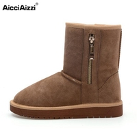 Women Real Leather Half Boots Winter Snow Plush Boots Ladies Sexy Flats Fashion Round Toe Zipper