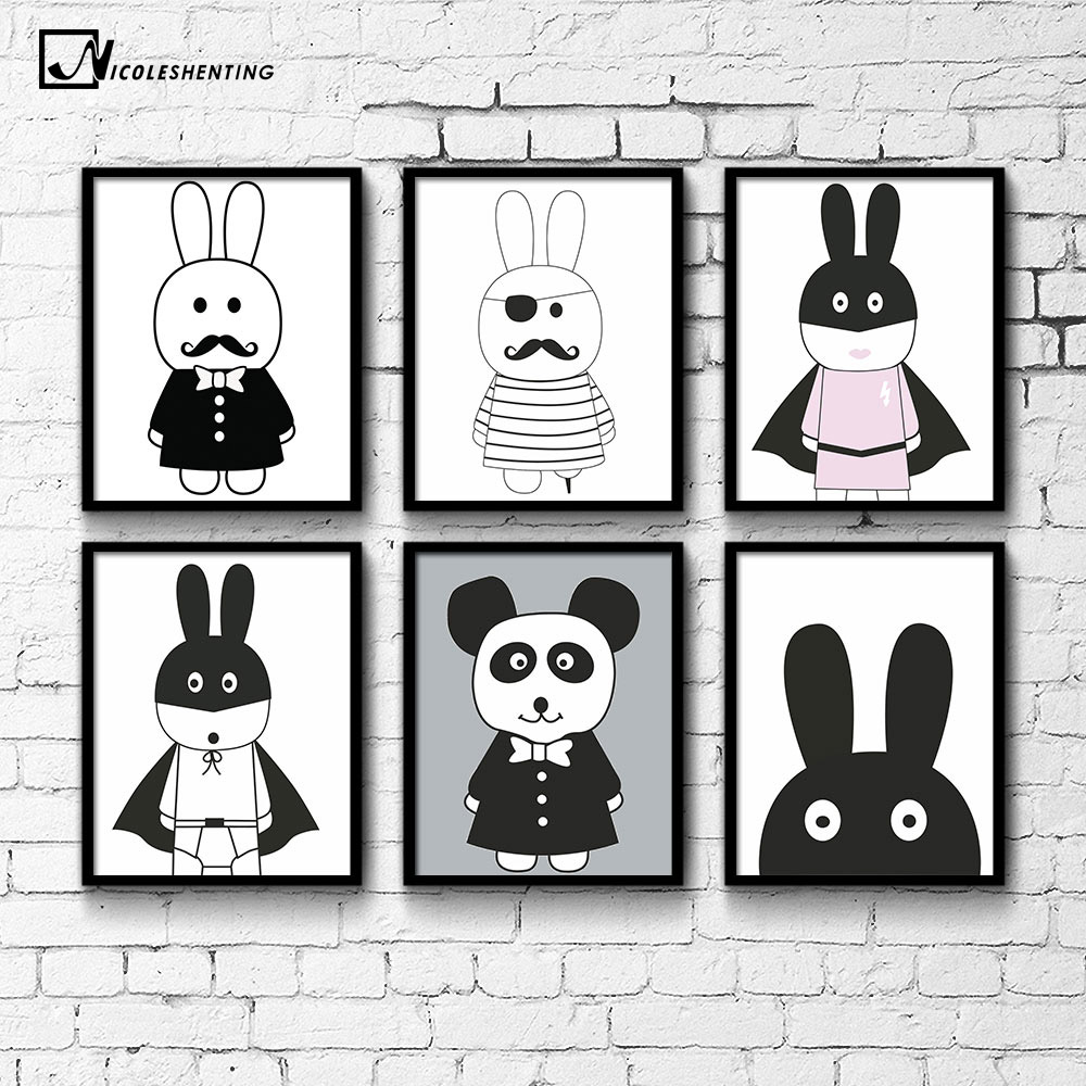 NICOLESHENTING Cartoon Pirate Hero Kanin Minimalistisk lerret Plakat Nordic Art Painting Wall Picture Barn Rom Dekorasjon