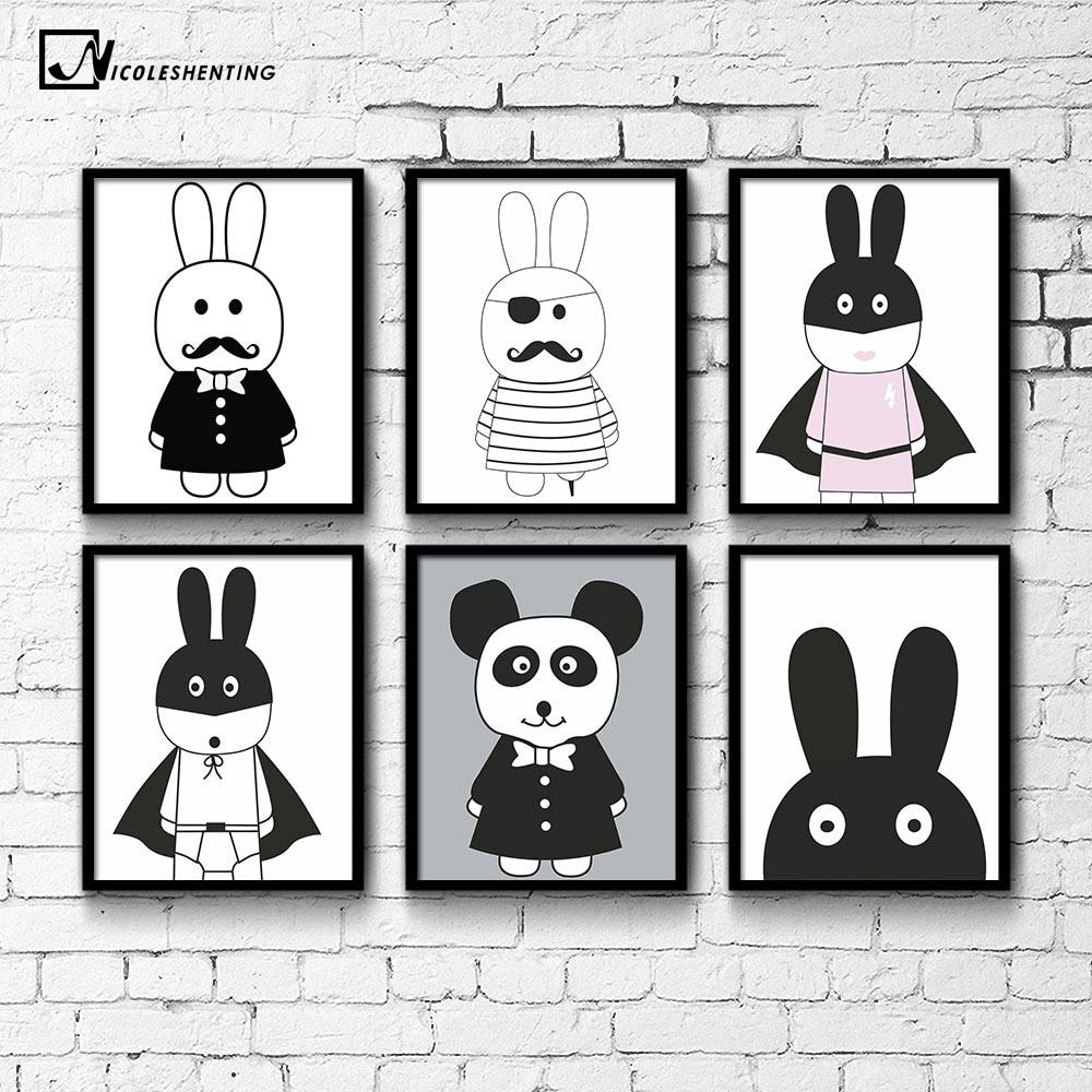 NICOLESHENTING Cartoon Pirate Hero Rabbit Minimalist Canvas Poster Nordic Art Painting Wall Picture Children Room Decoration