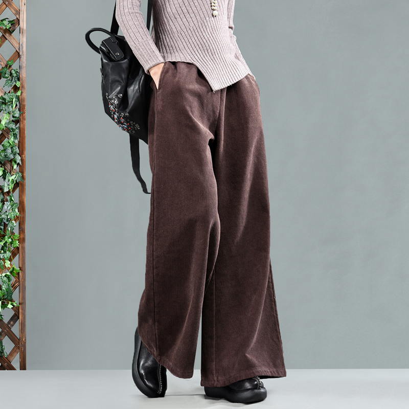 Fashion streetwear retro art corduroy wide leg pants plus velvet thick casual loose corduroy trousers