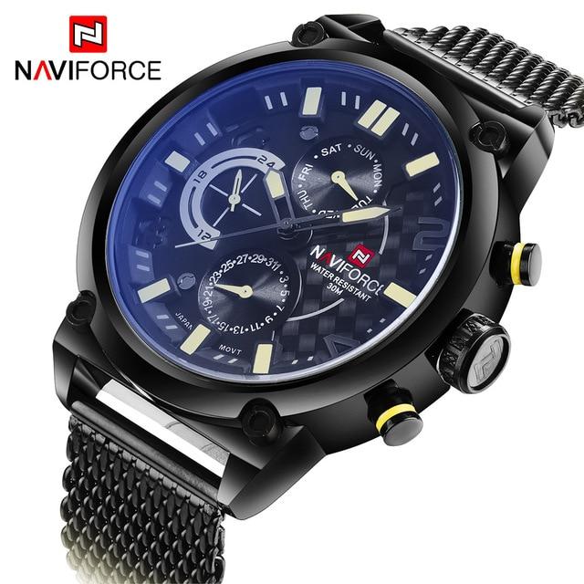 NAVIFORCE יוקרה מותג מלא פלדת גברים שעונים גברים של קוורץ 24 שעה תאריך שעון זכר ספורט צבאי שעוני יד Relogio Masculino