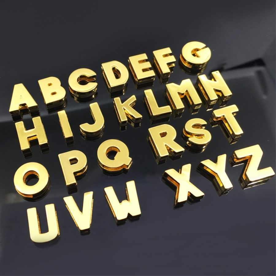 """8 ミリメートル DIY ゴールド平滑面スライドの文字「 A-Z """"手紙自由に選択フィット 8 ミリメートル DIY ベルトブレスレット SL08-1"""