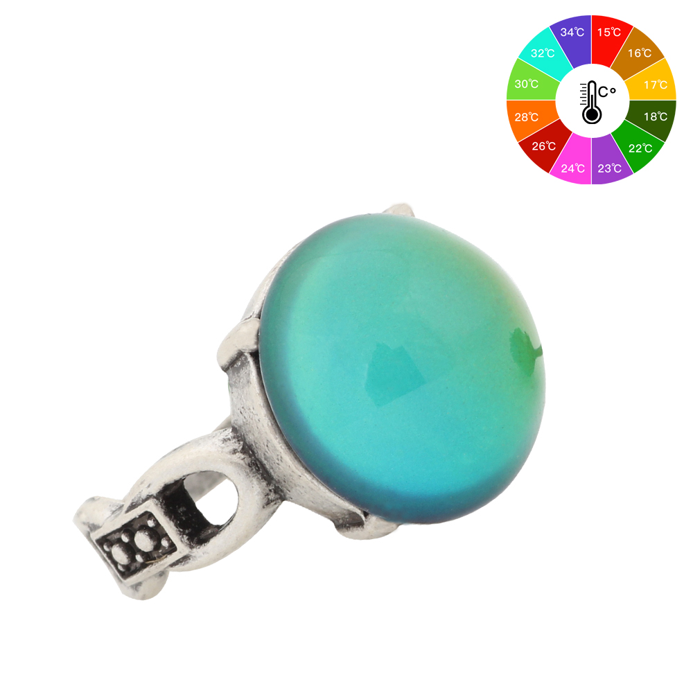 Mojo Vintage Bohemia Retro Color Change Perfect Antique Silver Plated Ring High Quality Vintage Mood Round Stone Rings MJ-RS041