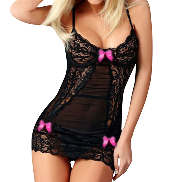 Sexy Hot Erotic Women Bow Lace Racy Temptation Nightgown