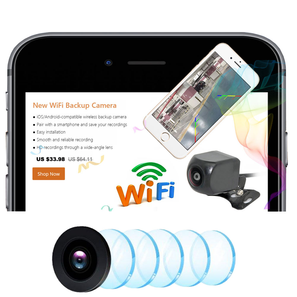 WiFi Wireless Car Reversing Camera Rear View Camera 120/150 Degree ...