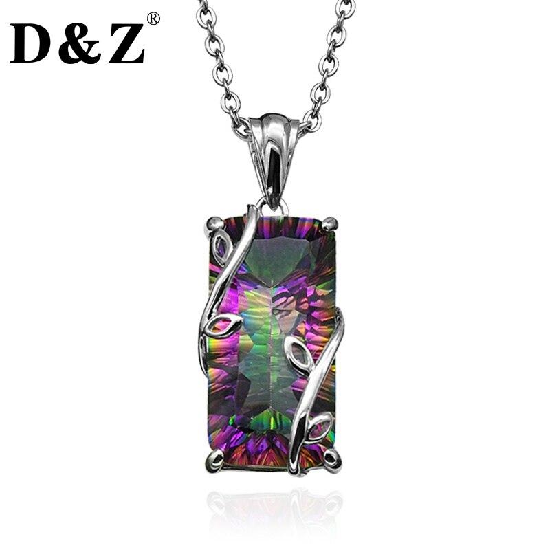 D & Z Handgemachte Feuer Regenbogen Mystic Natürliche Kristall Anhänger Halskette Sterling Silber Vintage für Frauen Halskette Schmuck