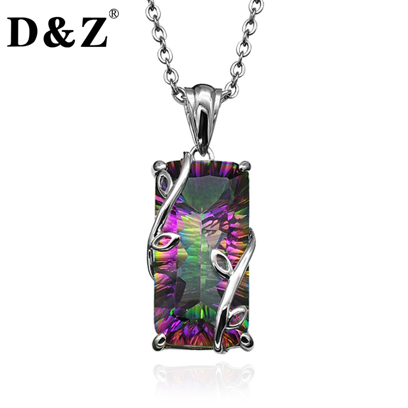 D Z Handmade Fire Rainbow Mystic Natural Crystal Pendant Necklace Sterling Silver Vintage for Women Necklace