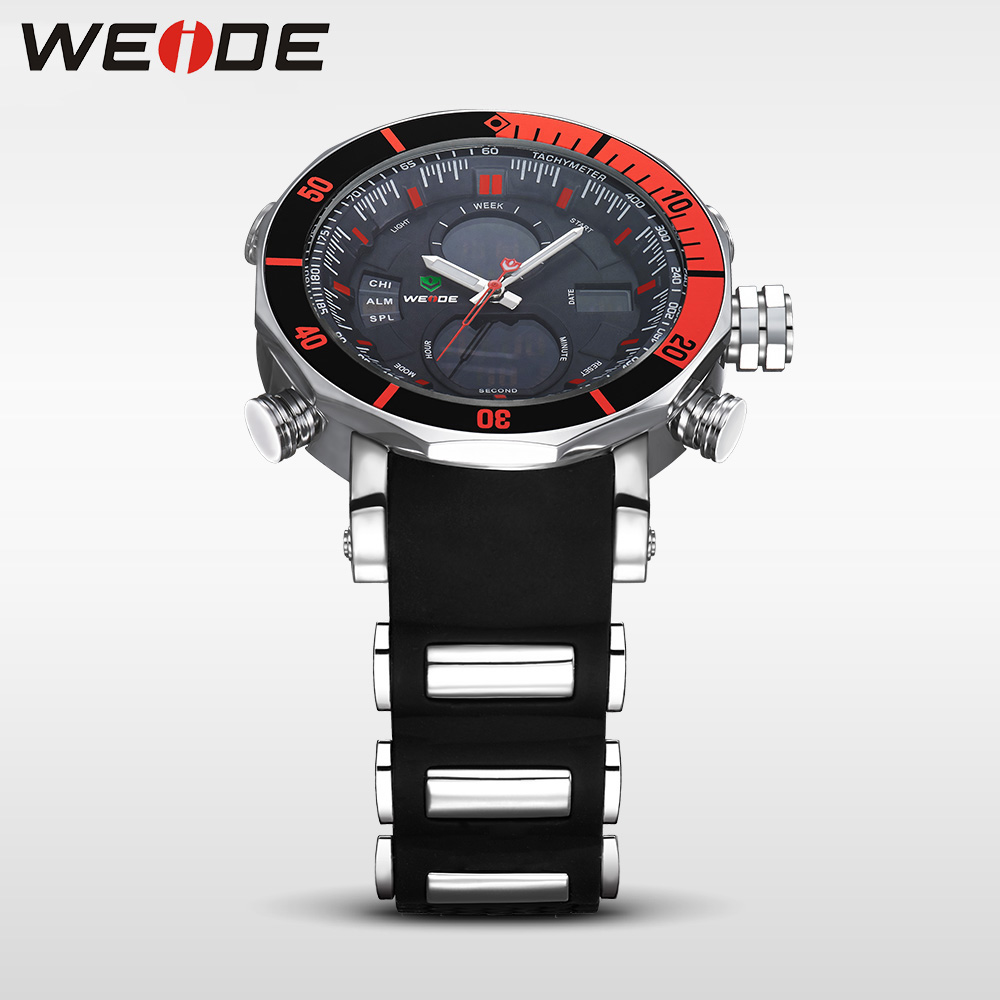 WEIDE Unique Red Black Mens Digital Dual Time Watch Acero inoxidable - Relojes para hombres - foto 4