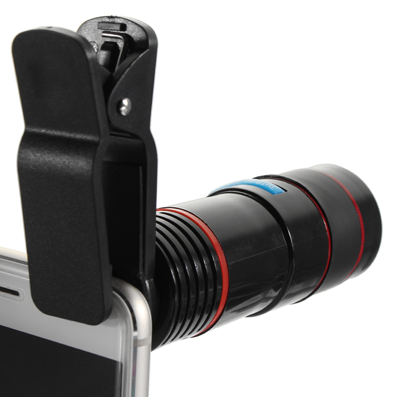 Optical 12X Zoom Lens Telescope Telephoto Phone Camera Lens Clip on Observing Camping Universal For iPhone Android Mobile Phone