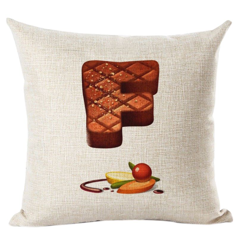 New Creative Taste Food Letters Print Cases Flax Cushion Cover Ornamental Cushions Seat Decor F