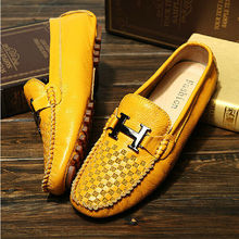 US6-10 Из НАТУРАЛЬНОЙ Кожи Дышащий Случайные Пряжки СКОЛЬЖЕНИЯ НА Вождение Loafer мода мужская бизнес Обувь