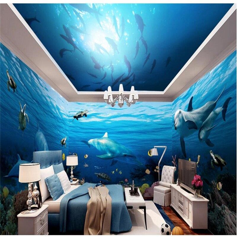 8 07 40 De Reduction Beibehang Personnalise Chambre Papier Peint Bleu Fonce Mer Dauphin Fond Moderne Europe Art Mural Pour Salon Grande Peinture