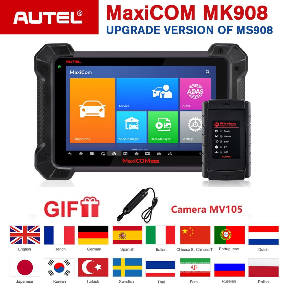 Autel MK908 OBD2 Scanner Ferramenta de Diagnóstico ECU Codificação Suporte Bi-Direcional Android Leitor de Código De Automóvel J2534 Programador