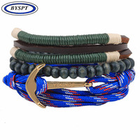 BYSPT Unisex Gunmetal Anchor Bead Cord Bracelet Charms Multilayer Ropes Gifts Multi-Colors Fashion Jewelry Wristband 3pcs/set