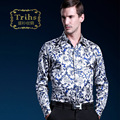Trihs chinese style blue and white spurge print silk long-sleeve shirt male diamond buckle