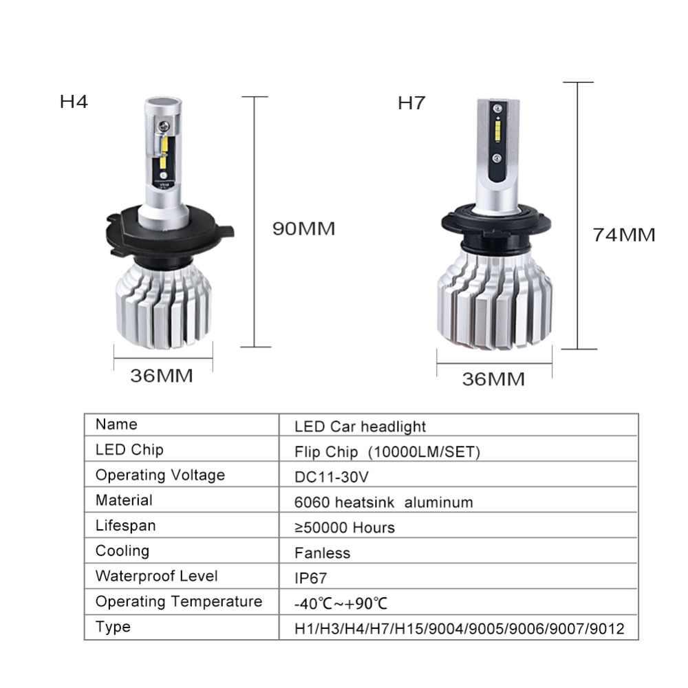 Foxcnsun H4 H7 LED Car headlight Fanless LEDs auto lamp H1 H3 H15 9004 9005 9006 9007 9012 12V 24V 50W CSP Hi Lo Beam 10000LM