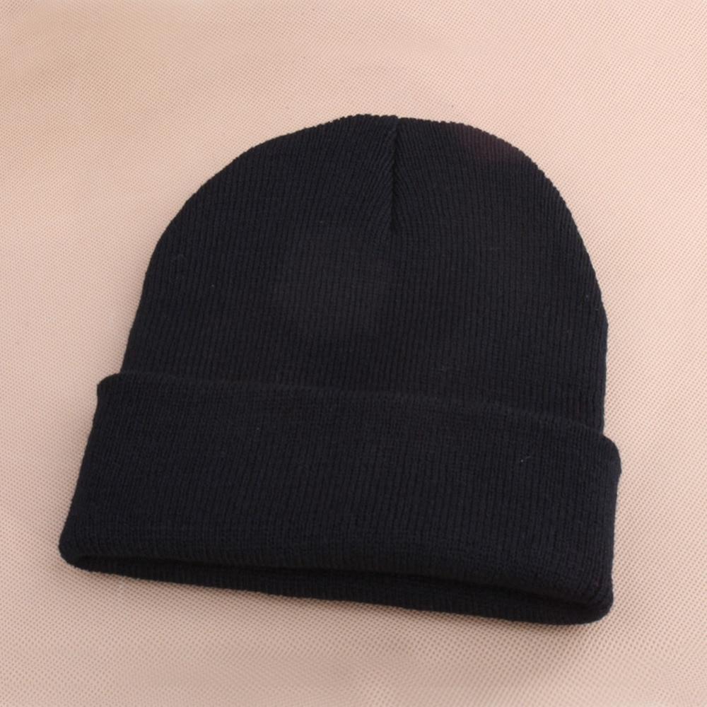 Women Men Winter Hat Snap Back Muts Knit Hip Hop Beanie Warm Ski Cap Bonnet femme Solid Color Cheap Gorro No Pompom Wholesale