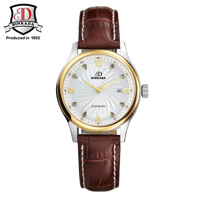 BINKADA 2019 Women's Automatic Watch Luxury Business Sapphire Diamond Mechanical Wristwatches Relogio Feminino