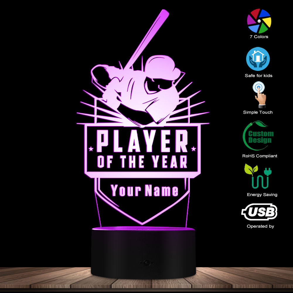 Baseball Player Of The Year 3D Optical Illusion Night Light Personalised Custom Your Name Table Lamp For Teammates Coaches Gift