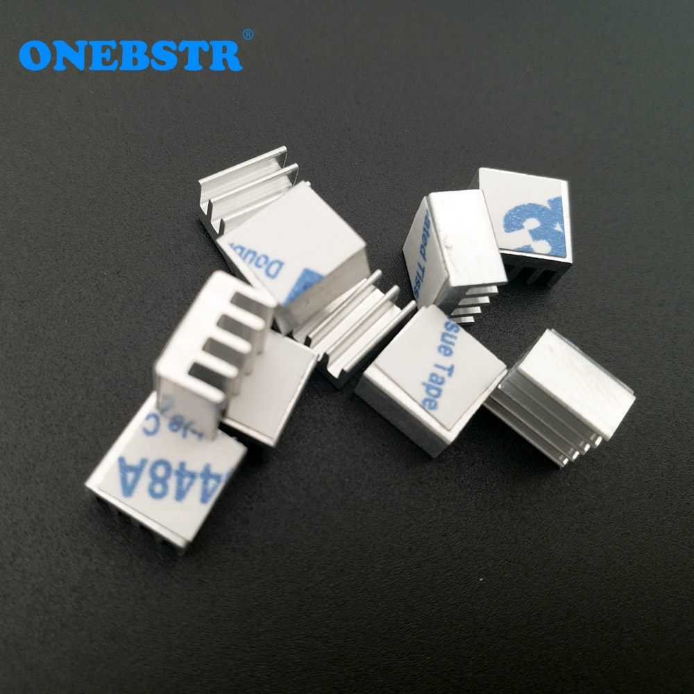 10Pcs/lot 8.8X8.8X5mm Cooling Radiator Adhesive On The Back Glue Cooler Electronic Chip Heatsink For A4988 Chip Free Shipping