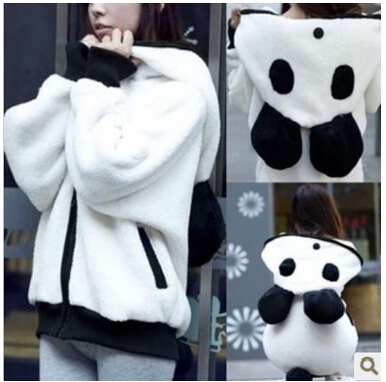 2015 women christmas sweater giant panda lovely hoodies outerwear loose thick sweater plush fleece blouse ,  free shipping