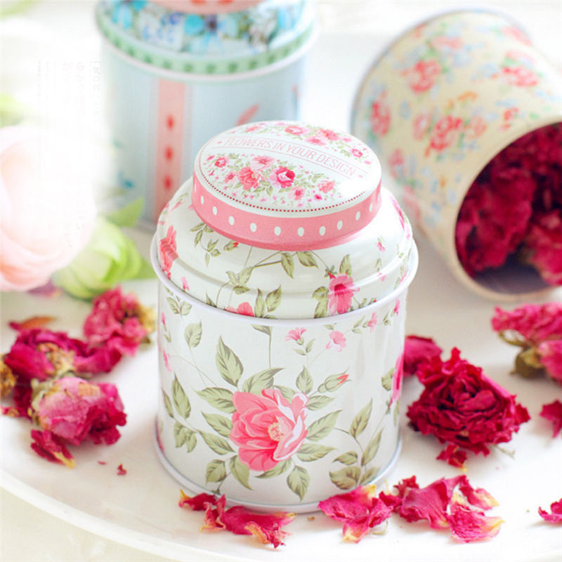 Storage-Case Tea-Box Candy Container Iron Flower-Series Round Metal Cute Home Print 1PCS