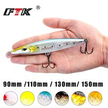 FTK Fishing Lure Floating Pencil Bait Stickbait Wobblers Topwater Long Casting Hard 90mm/110mm/130mm/150mm 6 colors