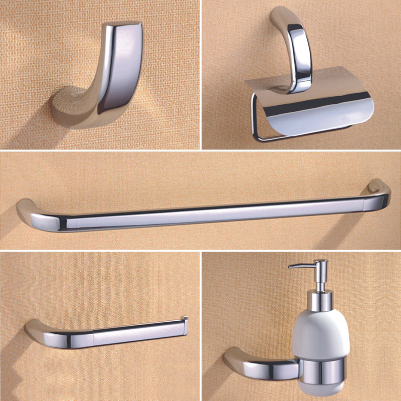 Brass bathroom hardware sets ceramic soap pump coat hooks toilet paper holder towel bar with for Ceramic towel hooks for bathrooms