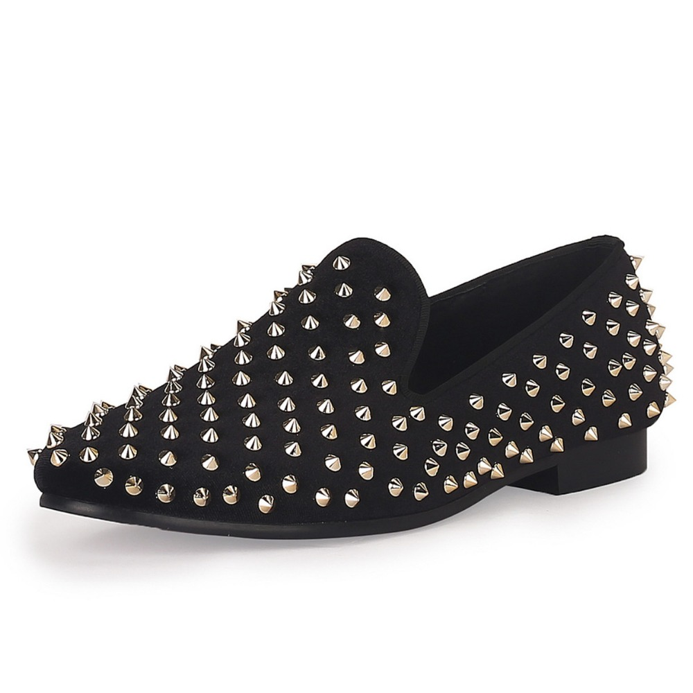 Black Mens Velvet Loafers Gold Rivets Smoking Slippers Handmade Spikes Wedding Shoes Red Bottom Sole Free Shipping Size 7-14