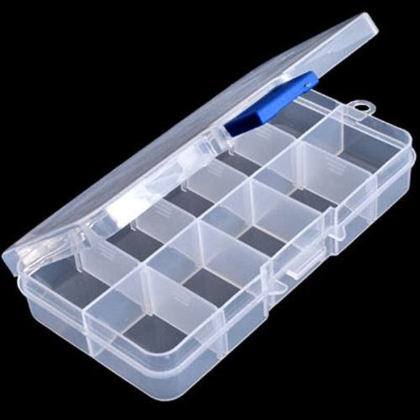 10-Grid Plastic Adjustable Jewelry Organizer Box Storage Container Case with Removable Dividers (Transparent)