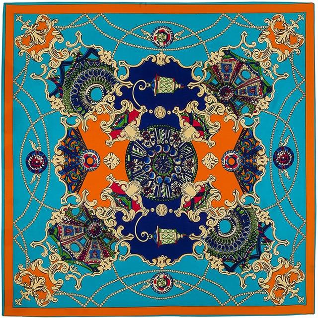 100cm*100cm Twill Silk stole Euro Brand French design sky Hofgarten palace garden Printed Women Square Silk Scarves hijab A209