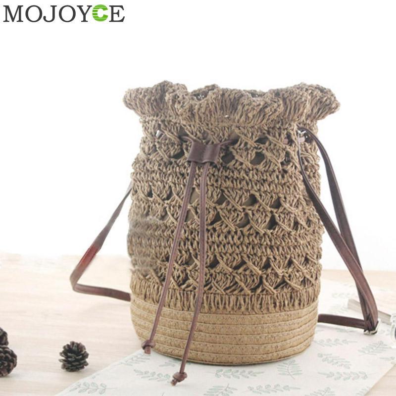Fashion Women Hollow Out Grass Bucket Bag Madam Woven Straw