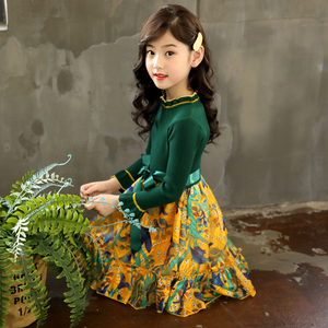 Image 4 - Girls Knitted Dress Autumn Winter Girls Dress Floral Pattern Girls Party Dress Kids Teenage Clothes For Girls 6 8 10 12 13 14