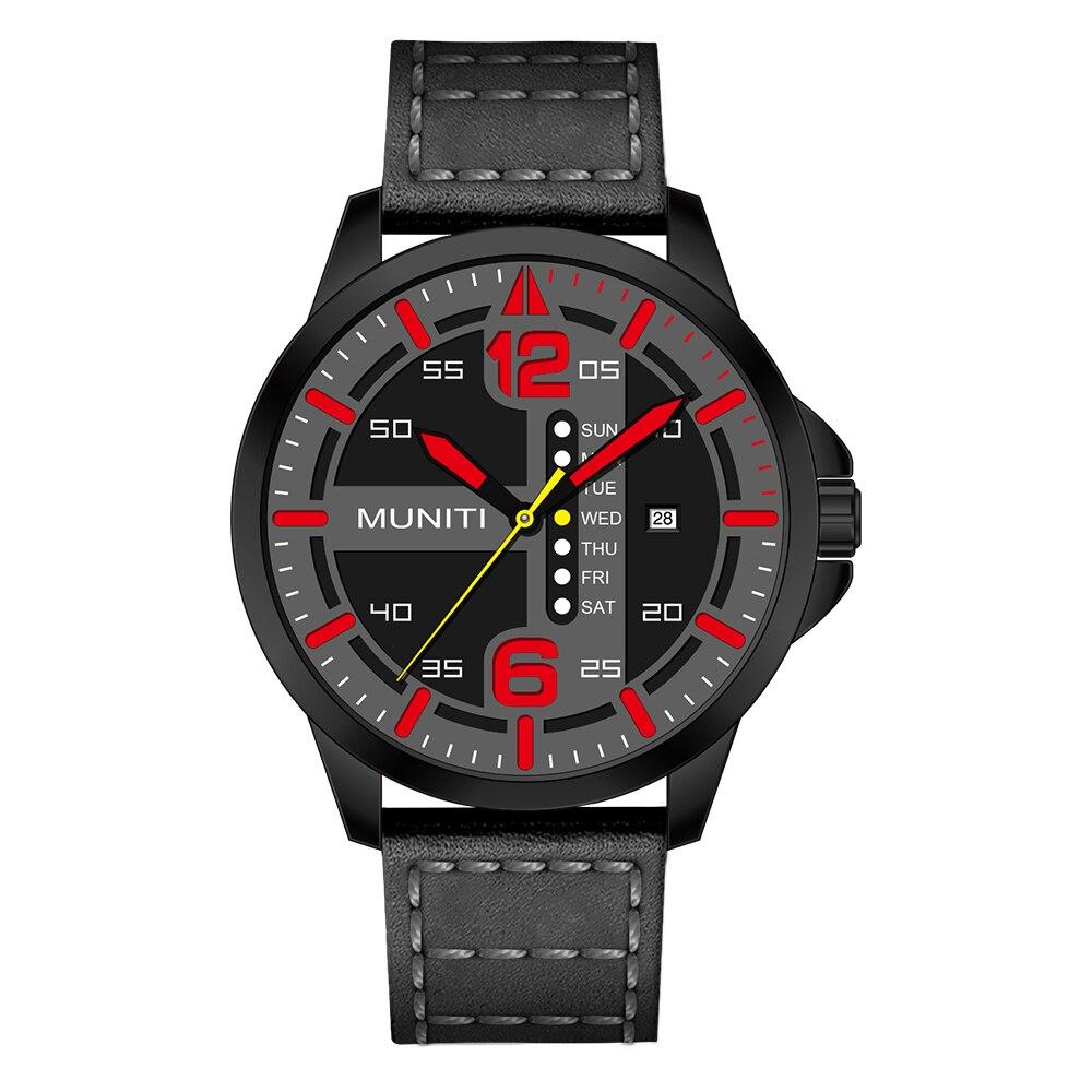 Erkek kol saati index Red conception Un Grade Boîtier Métallique, durable Véritable bande de Cuir Sport Top Hommes de Montre-Bracelet