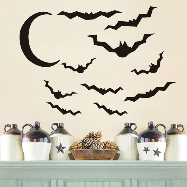 Halloween DIY Wall Stickers Bats And Moon Halloween Festival Wall Decor  Stick On Wall Art Decals